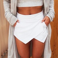Women's Summer Sexy Casual Asymmetrical Front Candy Color Tulip Skort Shorts New Arrival