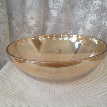 Marigold Salad Bowl, Vintage Carnival Glass Large Serving Bowl