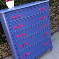 Custom Dresser, French Provincial Tall Boy Dresser, 5 Drawer, Painted PInk and Blue (Los Angeles)