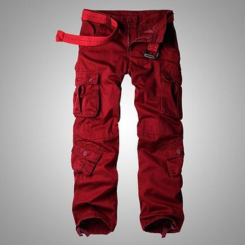 MIXCUBIC 2017 Autumn Korean style washing wine red cotton overalls pants men casual loose Multi-pocket cargo pants for men,28-42