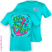 Simply Southern Funny Never Sink Anchor Sweet Girlie Bright T Shirt