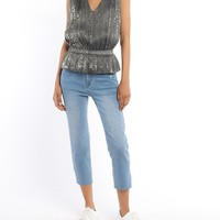 Leopard Shimmer Pleated Top