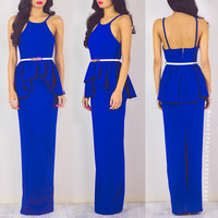 Fated To Love You Peplum Dress - Blue