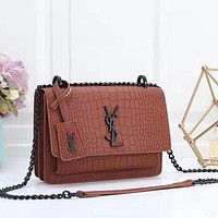 YSL Yves Saint laurent Fashion Leather Handbag Crossbody Shoulder Bag Satchel-5