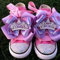 PRINCESS SOFIA SHOES - Sofia the First - Sofia Party - Costume - Swarovski Crystals - Sparkle Toes - Pink Converse - Infant/Toddler/Youth