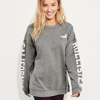 Girls Oversized Logo Crewneck Sweatshirt | Girls New Arrivals | HollisterCo.com