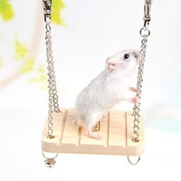 Hamster Rabbit Mouse Chinchilla Wooden Hanging Pet Hammock Small Swing Toys Cage Accessories