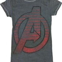 The Avengers Circle Charcoal Heather Juniors T-shirt - The Avengers -   TV Store Online