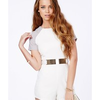 Missguided - Julieta Contrast Sleeve Belted Playsuit
