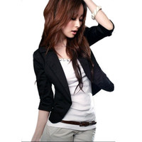 Funky 34 Sleeve Blazer One Button Suit Jacket Coat Short Outwear for Office LadyHG