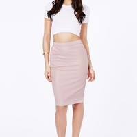 Missguided - Mariota Faux Leather Pencil Skirt In Dusky Pink