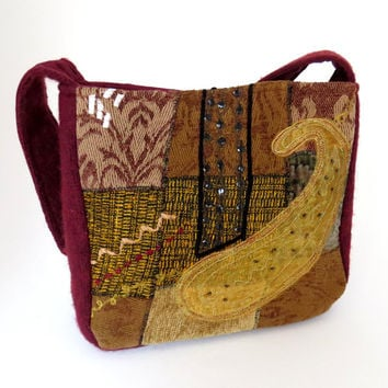FELTED RED and Gold TAPESTRY Purse from upcycled woman's Designer Jacket and Felted Cranberry Sweate / Eco Friendly Gift