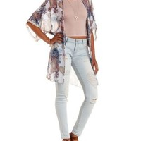 Ivory Combo Open Back Paisley Duster Kimono by Charlotte Russe