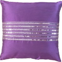 "Decorative Silver Sequins Stripes & Zig Zag Embroidery Throw Pillow COVER 18"" Purple"