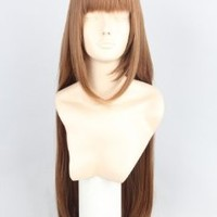 80cm Long Straight Brown Heat Resistance Cosplay Wig Anime Show & Party & Performance Hair Full Wigs