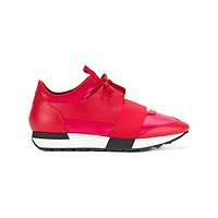 Balenciaga Women's 500587W07E1 Red Leather Sneakers