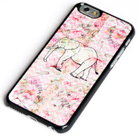 iPhone 6+ Case Elephant on Pink Flower Wooden Floor