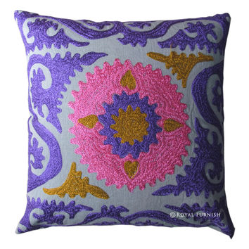 Indian Handmade Designer Cushion Cover Suzani Embroidered Handwork Pillow Cover Sham