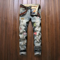 Men Embroidery Ripped Holes Fashion Men's Fashion Jeans [9892501699]