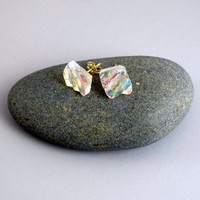 Textured Iridescent Dichroic Glass Post Earrings