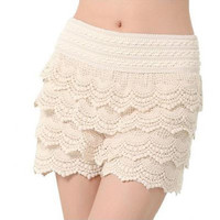 Women Lace Crochet Short with Jagged Edge and Inner Linning