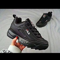 FILA street fashion men and women models non-slip breathable running shoes Black