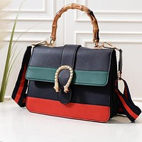 Samplefine2 GUCCI ladies fashion casual color matching tiger head buckle with bamboo handle leather handbag