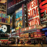 New York City Broadway Times Square Theater District Art Print Poster - 24x36 custom fit with RichAndFramous Black 36 inch Poster Hangers