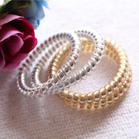 Women Lady Girls Gold/Silver Elastic Telephone Wire Hair Bands Ropes Ponytail Holders Hair AccessoriesEdit icon clear