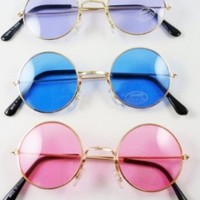 3 Round Sunglasses 60's Blue Pink Purple Lens Hippie Glasses