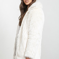 FOREVER 21 High-Collar Faux Fur Jacket Cream