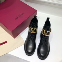 Kuyou Gx39930 Valentino Lace-up Western Chelsea Boot With Iconic Buckle