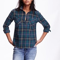 Old Navy Womens Classic Plaid Flannel Pullover