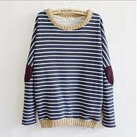 Fashion striped patch sweater