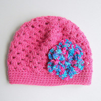 Toddler Girl Pink Hat Infant Beanie Baby Cap 1 - 2 Years Children Winter Clothing  Fall Cloche Bright Multi Color Crochet Flower
