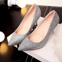 2016 Fall Elegant Sequins Cloth Lady Wedding Shoes High Heel Pointed Toe Women's Pumps Size 35-39 Silver Black Red  Gold SF096