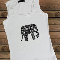Women's Tank,Elephant on a u Ladies Tank,Screen Printing Tank,Women's Tank,White Tank,Size S, M, L