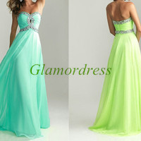long chiffon prom dress with Rhinestone / unique sweetheart evening party gowns hot / cheap dress fro holiday party on sale