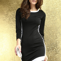 Black Long Sleeve with White Trim Bodycon Mini Dress