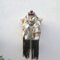 Fringed Scarf , Brown, white, mustard,beige plaid pattern, long wrap scarf, Unique, chiffon fabric, Timeless, scarves, full seasons outfit