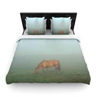 "Angie Turner ""Horse in Fog"" Blue Mist Woven Duvet Cover"