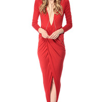 Red Overlapped Tulip Maxi Dress