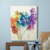 Floral Watercolor + Birch Wall Art
