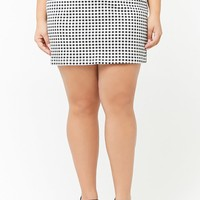 Plus Size Gingham Mini Skirt