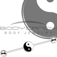 Stainless Steel Yin Yang Industrial Barbell 37mm   Body Candy Body Jewelry