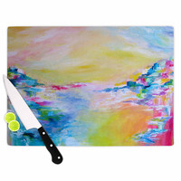 """Ebi Emporium """"Something About the Sea"""" Yellow Multicolor Cutting Board"""