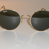 VINTAGE B&L RAY BAN W0607 52-21M GP WIRE G15 UV ROUND LENNON AVIATOR SUNGLASSES