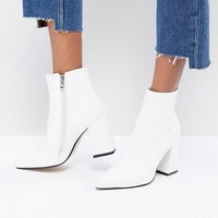 Public Desire Empire White Block Heeled Ankle Boots at asos.com