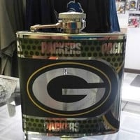NFL Green Bay Packers 6oz Stainless Steel Flask with 360 Hi-Def Metallic Wrap