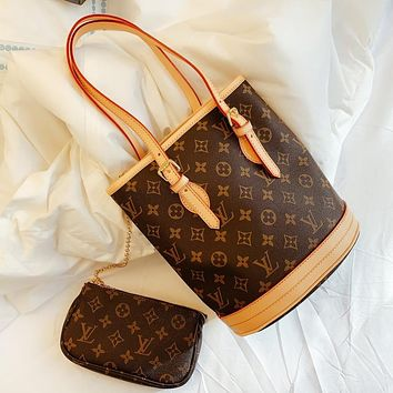 LV Louis Vuitton Fashion Women Shopping Leather Tote Handbag Bucket Bag Purse Wallet Set Two-Piece